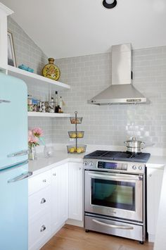 light gray subway tile all the way up to the ceiling -- The Cross Design via desire to inspire