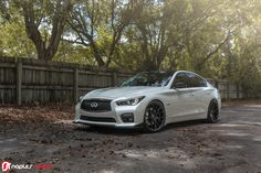 """OurINFINITI projects keep rolling in! If you thought Project Gotham was good, wait til you see this star. We took in a beautiful Majestic White 2017 Red Sport and crafted up a """"Storm… Infiniti Sedan, Infiniti Q50 Sport, Skyline Gt, Nissan Skyline, My Dream Car, Dream Cars, Infinite Car, Q50 Red Sport, Maserati Gt"""