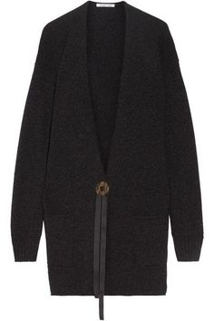 Charcoal wool and cashmere-blend Button fastening at front 70% wool, 30% cashmere; trim: 100% polyester Dry clean Imported