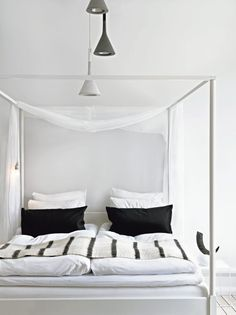 White, black, and bed