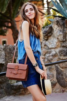 spring / summer - street chic style - beach style - chambray tank top + denim 70's a-line skirt + black and white boat hat + brown shoulder bag + brown espadrilles