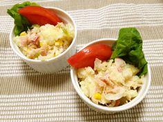 炒め玉葱とベーコンのポテトサラダ