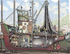 Wooden Speed Boats, Boat Illustration, Boat Drawing, Drawing Tips, Living On A Boat, Fishing Vessel, Jon Boat, Boat Dock, Wooden Boat Plans