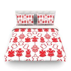 """Miranda Mol """"Angels Singing White"""" Red Holiday Cotton Duvet Cover"""