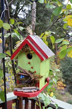 Primitive Birdhouse Painted Red & Green // by BirdhousesByMichele, $60.00