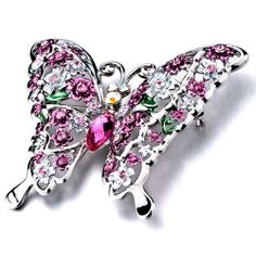 Pugster Empress Monarch Silver Flying Butterfly Winged Rose Pink Swarovski ?crystal Rhinestone Brooches And Pins Pugster. $29.99. One free elegant cushioned Gift box available with every order from Pugster.. Can be pinned on your gown or fastened in your hair with bobby pins.. Occasion: casual wear,anniversary, bridal, cocktail party, wedding. Exquisitely detailed designer style with Swarovski cystal element.. Money-back Satisfaction Guarantee.