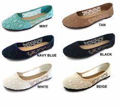 Womens Ballet Lace Mesh Flat Slip On Shoes Casual Dress Low Heel Ladies Crochet #Generic #BalletFlats