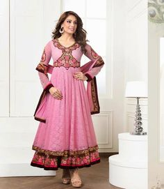 INDIAN BOLLYWOOD DRESSES DESIGNER BIPASHA BASU COLLECTION Flaunt your Style quotient with this Designer Bipasha Basu Pink Anarkali style Salwar Kameez enhanced with beautiful Resham embroidery, Zari work & Moti & stone work. Beautiful color combination adds beauty to this lovely attire. The set is completed with a designer Santoon bottom & Chiffon Dupatta.
