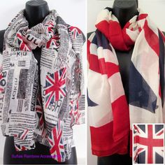Newspaper Union Jack Flag Scarf Large Celebrity Fashion Scarves Vintage New Soft