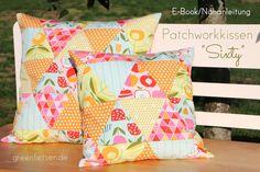 Nähanleitung für Kissen im Patchwork Look / diy sewing instruction: patchwork cushions made by greenfietsen via DaWanda.com