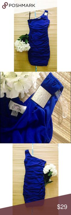"One Shoulder Ruched Party Dress Cobalt Blue one shoulder party dress from Sweet Storm featuring a ruched fit and decorative buckle at the shoulder. Worn once.  In like new condition. Shell 95% Polyester & 5% Spandex. Runs true to size. M: L - 28-29"", B - 33"", W - 28"", & H - 34"". Pair with nude pumps & a chic clutch to turn heads all night. Shine bright.     No Trading   Bundling Available  Fast Shipping    Holds for over $50 for 24 hrs only  Top 10% Sharer & Seller   Posh Mentor Sweet Storm…"