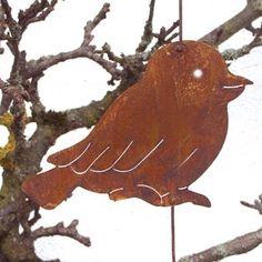 meisenknödelhalter rost | Rost Vogel Jakob flach als Meisenknödel-Halter Gartendeko