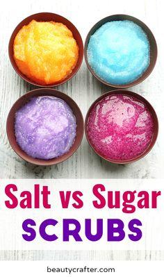 Salt Scrub vs Sugar Scrub which one is right for your skincare need. Salt Scrub Recipe, Body Scrub Recipe, Diy Body Scrub, Diy Scrub, Homemade Blush, Sugar Scrub Homemade, Homemade Beauty, Homemade Facials, Diy Beauty Organizer