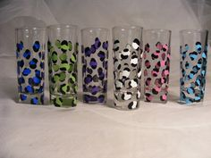 hand painted wedding bridesmaid shot glasses in assorted leopard print - can be personalized. $30.00, via Etsy.