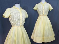 Hope Reed Yellow Cotton & Lace Vintage Day Dress  by JanesVintage