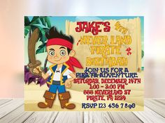 Check out this item in my Etsy shop https://www.etsy.com/listing/287729691/jake-the-pirate-invitation-editable-text
