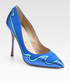 Nicholas Kirkwood Blue Suede Metallic Leather Pumps shoes www.finditforweddings.com