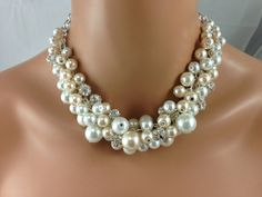 Ivory and white with rhinestones chunky pearl by bazinedezine, $32.00