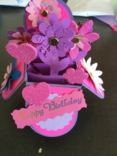 Cricut base - all occasions cartridge  and punch flowers with some cut from box cartridge . Just for you pretty in pink handmade card made by me for sale $7