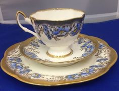SALISBURY TEA CUP AND SAUCER TRIO HANDPAINTED FAN PATTERN FLORAL BLUE TEACUP