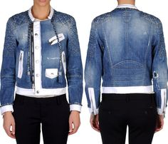 (6) Motorcycle Biker Multi-Panel Denim Jacket with Waffle Padded Shoulders - Dsquared2 2013 Spring Womens Made in Denim Finds - Denim Outerwear & Jeanswear Jackets