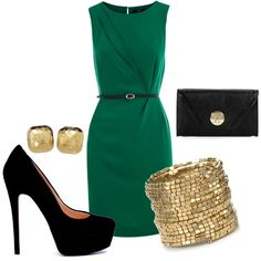 A fashion look from February 2012 featuring blue shift dress, bridal shoes and shoulder handbags. Browse and shop related looks. Business Wear, Business Women, Jade Green Dress, Pretty Outfits, Fall Outfits, Putting On The Ritz, Nice Dresses, Dresses For Work, Look Formal
