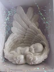Baby wrapped in angles wings personalised ornament. My Baby Girl, Baby Love, Miscarriage Tattoo, Pregnancy And Infant Loss, Stillborn, Child Loss, Baby Memories, Angels In Heaven, Personalized Ornaments