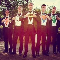 Each groomsmen is different superhero and whoever the superhero's lady's are in the comics is the bridesmaid that goes with that superhero for example: Cap & Peggy, Superman & lois lane, Thor & Jane, and Ironman & Pepper! And batman is exclusive to the bride!!