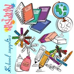 This free back to school clipart set includes 9 happy school click now to view school supplies clipart for teachers it contains 45 high quality 300dpi voltagebd Image collections