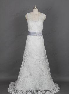 2014 Vintage Lace A Line Sweep Train Wedding Dress by Jennydress, $199.00