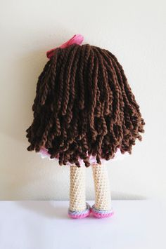Crochet Doll Long brown hair handmade Ready to por LinaMarieDolls