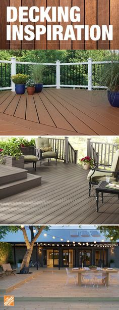Build a backyard deck that's both beautiful and low-maintenance. Composite decking provides the beauty of wood without the worry of splintering, cracking or weather damage. It comes in rich colors that resist fading and stains. Click to explore composite decking options at The Home Depot.