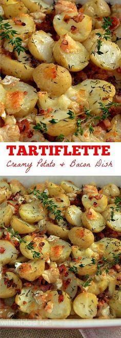 Creamy & loaded with Bacon, this Tartiflette {Potato based casserole} is one of my family's favorites ! #Bacon #Potatoes #Casserole #SideDish