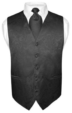 Men's Black Paisley Design Dress Vest and NeckTie Set for Suit or Tuxedo