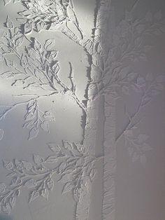 Raised Plaster Aspen Tree Stencil by Victoria Larsen, via Flickr