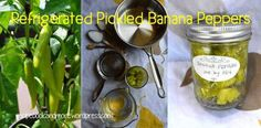 Easy Refrigerated Pickled Banana Peppers - fresh from the garden. Simple easy ingredients, keeps in fridge for 3 mos. No canning needed! Recipes With Banana Peppers, Sweet Banana Peppers, Canning Banana Peppers, Pickled Banana Peppers, Stuffed Banana Peppers, Pickled Pepperoncini, Pepperoncini Peppers, Banana Pepper Rings, Canning Food Preservation