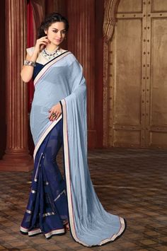 Blue Party Wear Saree with Lace Border