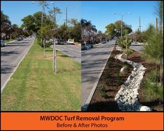 Here's another great before/after photo of one of our Turf Removal Program participants. The City of La Habra replaced the non-functional turf in this street median with beautifully landscaped California Friendly plants and permeable materials. Great job, La Habra!