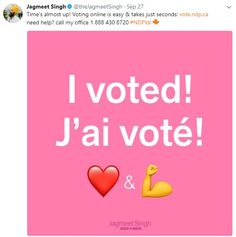 Jagmeet Singh promotes to his followers that they can easily vote online by clicking a simple link. If one is having trouble while doing so they can easily call their office with the number provided below. I believe this post attracts the younger followers and will likely cause them to vote because of the art style and the elements of the post. He has several similar like this on his twitter feed.