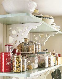 jars , jars, jars...imagine them in any room.  Find neat food jars and repaint lids.  Pretty storage in any room.