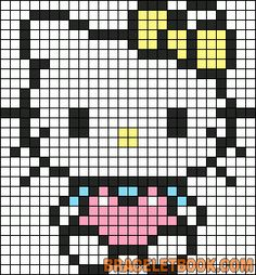 Hello Kitty Hama Perler Bead Pattern or Cross Stitch Chart
