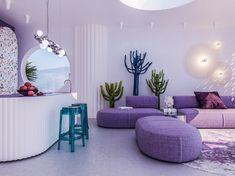 Gallery of Villa in Ibiza / Reutov Design - 2 Pastel Interior, Purple Interior, Purple Bedroom Design, Purple Rooms, Purple Walls, Futuristic Interior, Interior Modern, Spa Interior Design, Boutique Interior