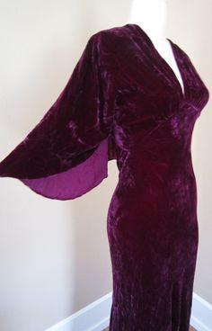 1930s Bias-Cut VAMPIRA Sexy Vintage Velvet Gown 1920s Huge WING-Sleeves Burgundy Wine Art Deco 1940s 40s 30s m/l. $295.00, via Etsy.