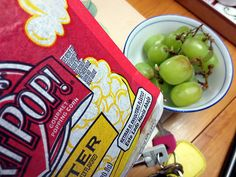 Snack time 16 Sept 2013. Microwave popcorn and grapes. Healthy.