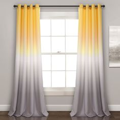 Umbre Fiesta Room Darkening Window Curtain Panels Yellow/Gray Set - Lush Decor curtain panels are not only stylish, but they are also energy efficient. The color fading pattern is printed on light blocking fabric, which filters sunlig Ombre Curtains, Yellow Curtains, Grommet Curtains, Drapes Curtains, Curtain Panels, Window Panels, Blackout Curtains, Valance, Room Darkening Curtains
