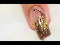 nail art for autumn   Autumn Copper Foil Nail Art Design Tutorial Video by Naio Nails