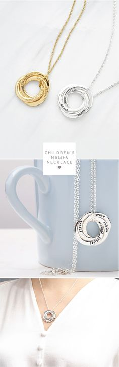 Children's names necklace • Gift for mom • Mommy necklace • Circle of love necklace • Mother and child necklace • Mommy jewelry