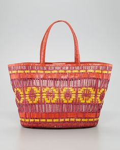 Crocodile Large Woven Tote Bag, Fiesta by Nancy Gonzalez at Neiman Marcus.