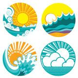 Vintage Sun And Sea Waves. Vector Icons Of  Illust - Download From Over 45 Million High Quality Stock Photos, Images, Vectors. Sign up for FREE today. Image: 32251715