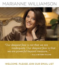 LIVESTREAM MONDAYS » Marianne Williamson • LIVESTREAM MONDAYS     MARIANNE WILLIAMSON is one of millions of people whose lives have been transformed by A Course in Miracles, a self-study program of spiritual psychotherapy.  For over thirty years, she has given regular talks and seminars based on Course principles.  Her first book, A RETURN TO LOVE:  Reflections on the Principles of A Course in Miracles, has introduced millions of people to its concepts.  Now, for the first time, her weekly…